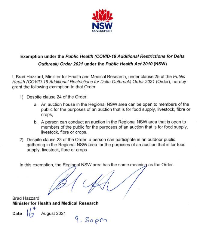 Livestock sales exemption